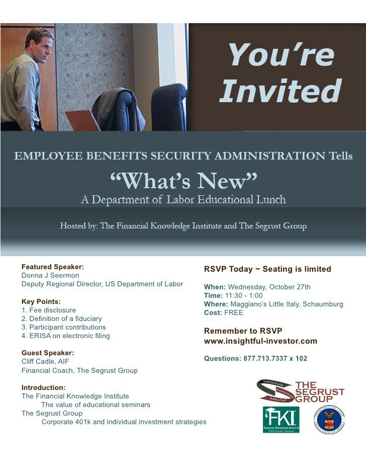 Lunch and Learn Invitations 10 27 Fiduciary Lunch and Learn Invitation