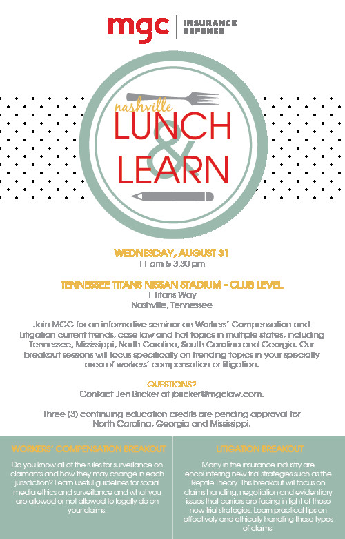 Lunch and Learn Invitations 2016 Nashville Lunch & Learn Mgc
