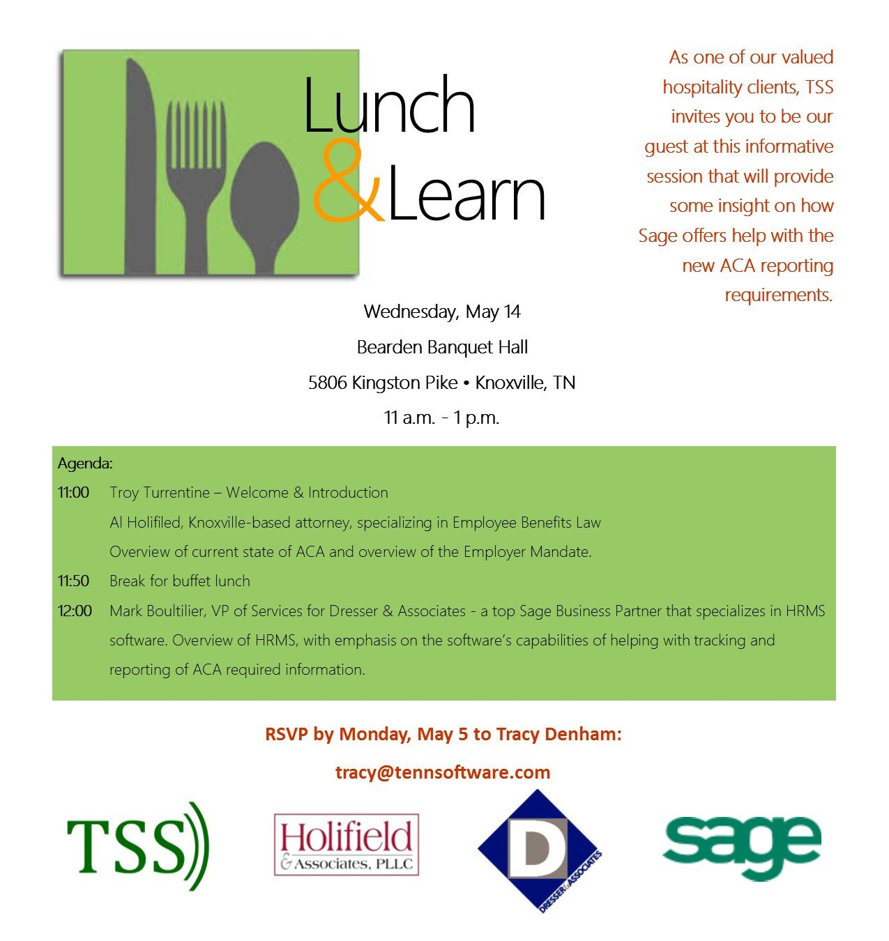 Lunch and Learn Invitations Hospitality Industry Lunch & Learn Aca Reporting – Tss