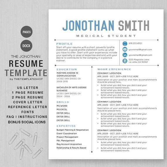 Mac Pages Resume Templates Resume Template Cv Template for Word Printable social