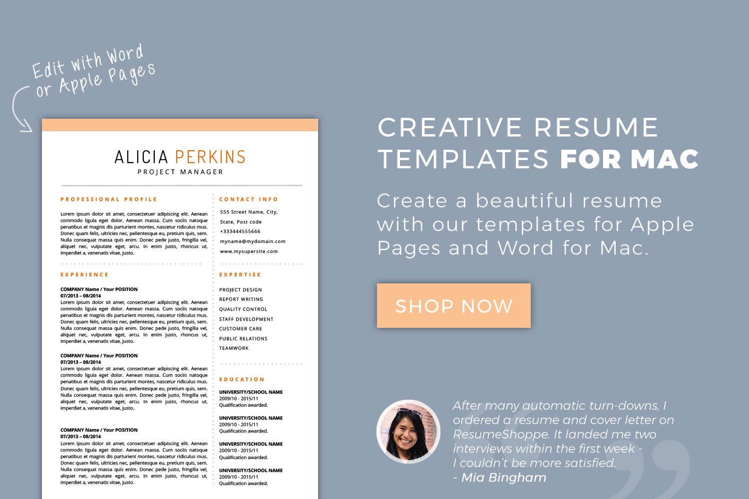 Mac Pages Resume Templates Resume Templates for Mac Word & Apple Pages Instant