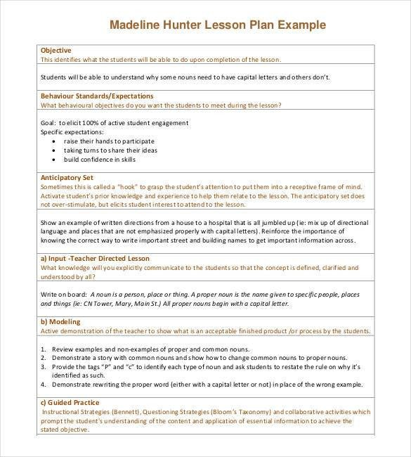 Madeline Hunter Lesson Plan 59 Lesson Plan Templates Pdf Doc Excel