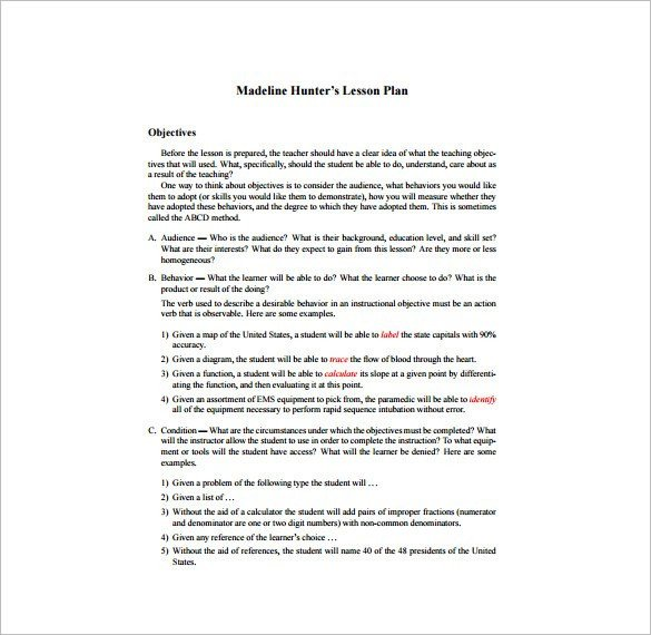 Madeline Hunter Lesson Plan Hunter Lesson Plan Template Word – Madeline Hunter Lesson