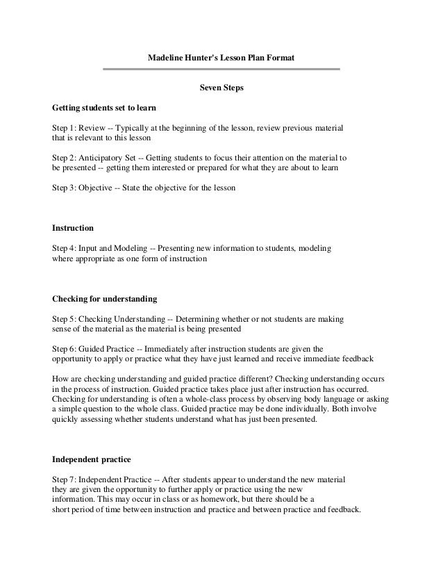Madeline Hunter Lesson Plan Madeline Hunter