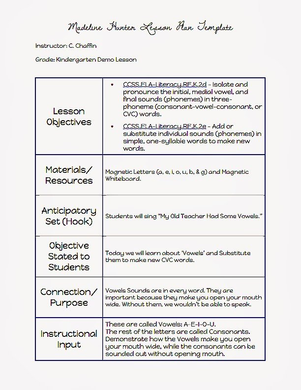 Madeline Hunter Lesson Plan Mon Core Blogger Madeline Hunter Lesson Plan Template