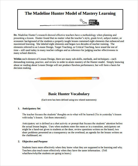Madeline Hunter Lesson Plan Sample Madeline Hunter Lesson Plan – 11 Documents In Pdf