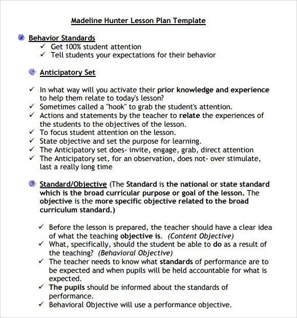 Madeline Hunter Lesson Plan Sample Madeline Hunter Lesson Plan Template 9 Free
