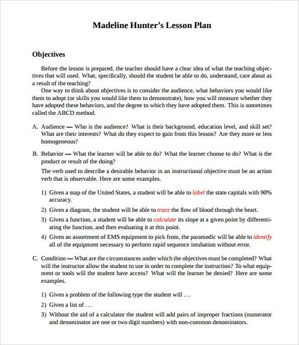 Madeline Hunter Lesson Plan Sample Madeline Hunter Lesson Plan Templates – 10 Free