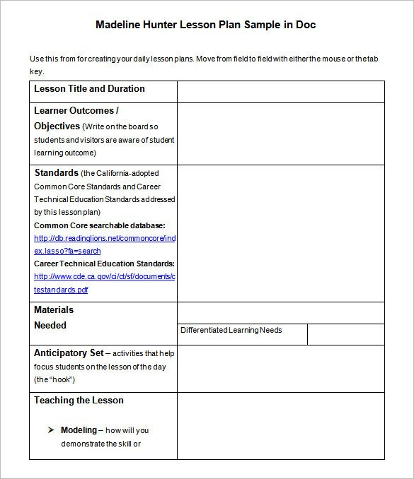 Madeline Hunter Lesson Plan Template Lesson Plan Template – 43 Free Word Excel Pdf format