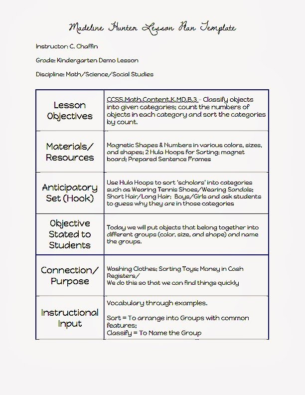 Madeline Hunter Lesson Plan Template Mon Core Blogger Madeline Hunter Lesson Plan Template