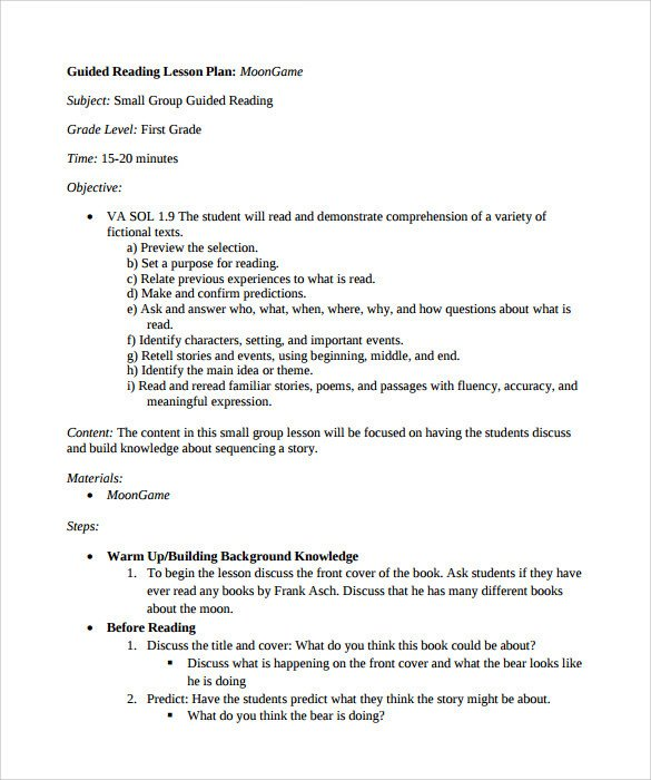 Madeline Hunter Lesson Plan Template Sample Guided Reading Lesson Plan 9 Documents In Pdf Word