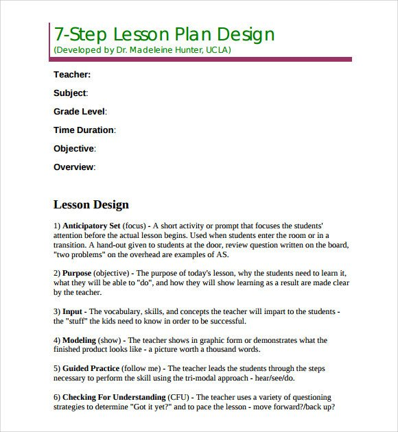 Madeline Hunter Lesson Plan Template Sample Madeline Hunter Lesson Plan Template 9 Free