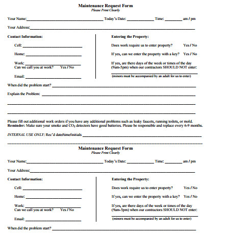 Maintenance Request form Template 5 Maintenance Request form Templates formats Examples