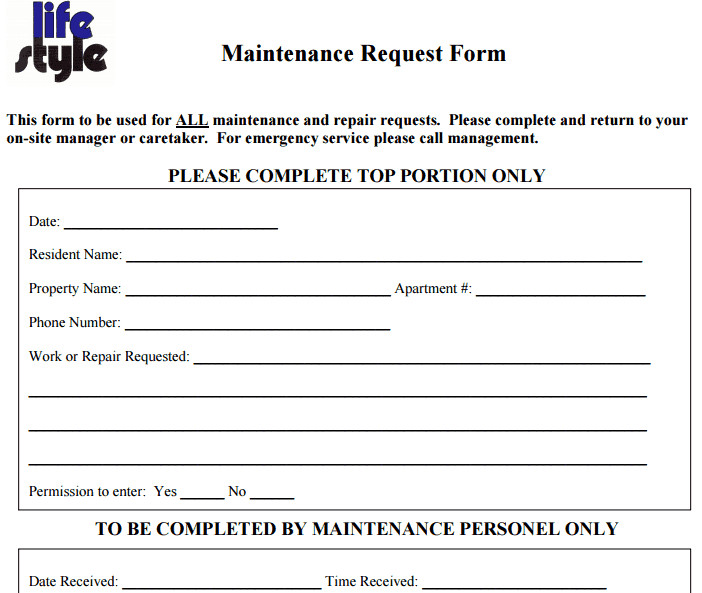 Maintenance Request form Template 6 Free Maintenance Request form Templates Word Excel