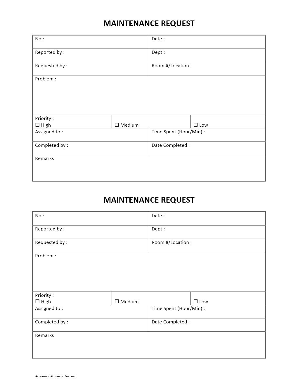 Maintenance Request form Template Hotel Maintenance Request form