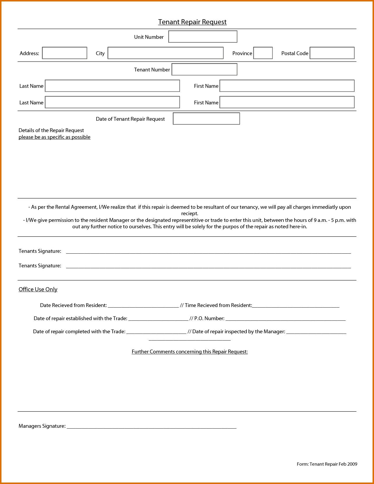 Maintenance Request form Template Maintenance Request form Template