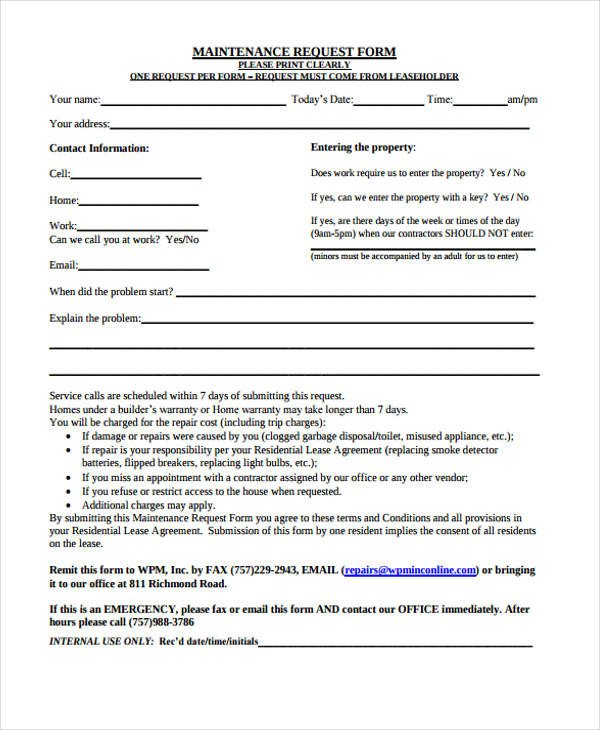 Maintenance Request form Template Request form Template