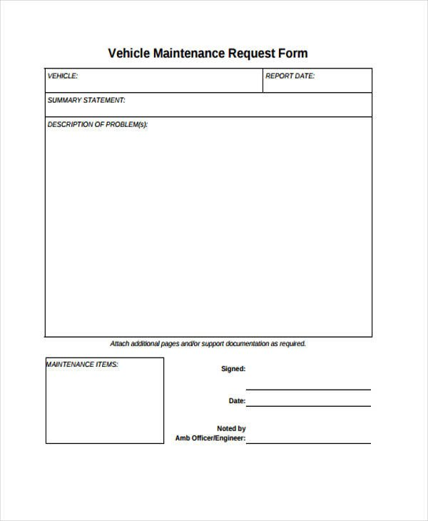 Maintenance Request form Template Request form Template