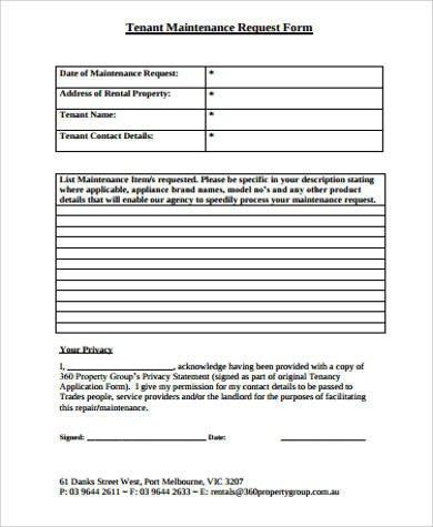 Maintenance Request form Template Sample Maintenance Request form 11 Examples In Word Pdf