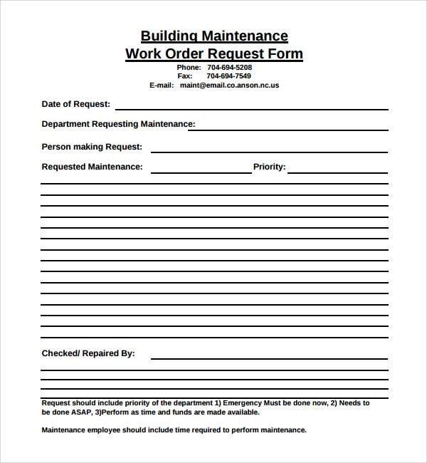 Maintenance Request form Template Sample Maintenance Work order form 8 Free Documents In Pdf