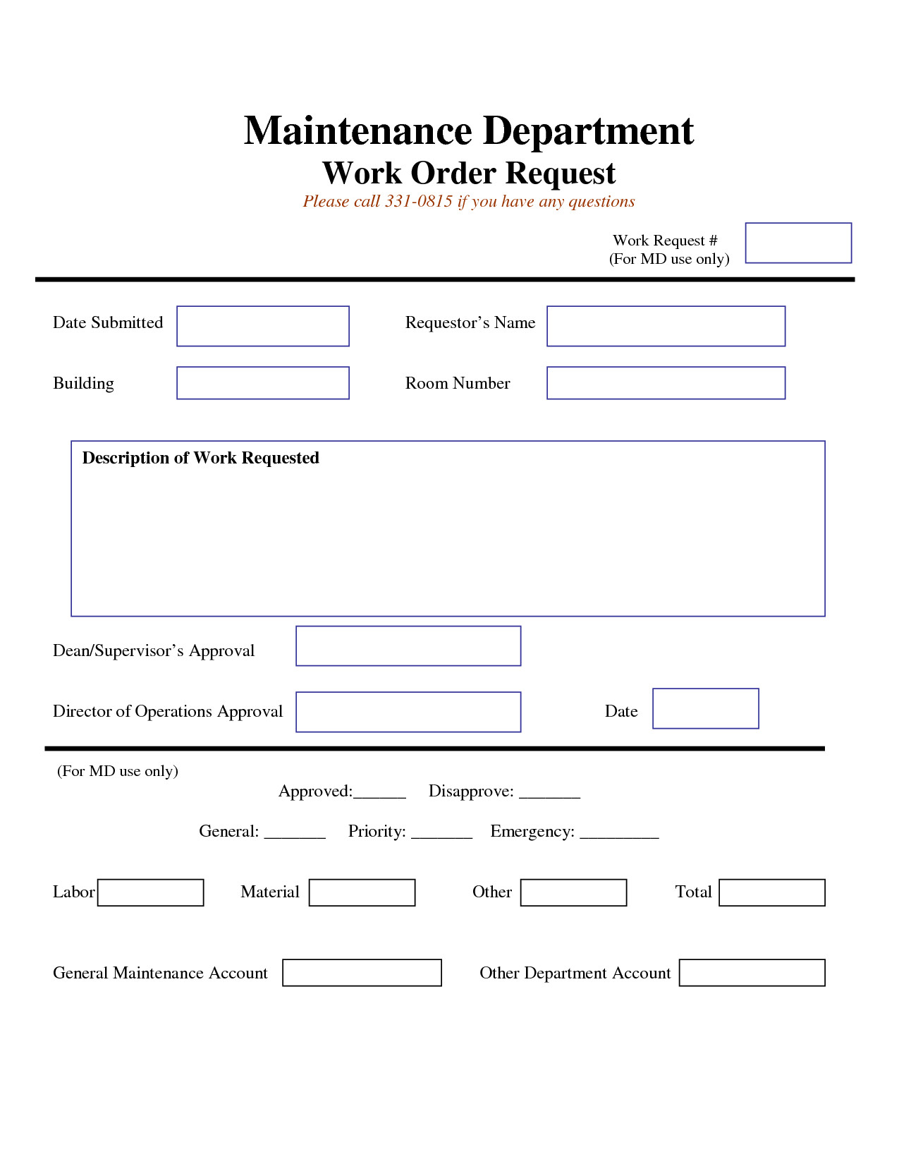 Maintenance Request form Template Work Request form