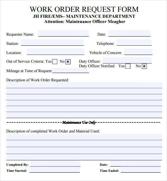 Maintenance Work order Template 14 Work order Samples Pdf Word Excel Apple Pages