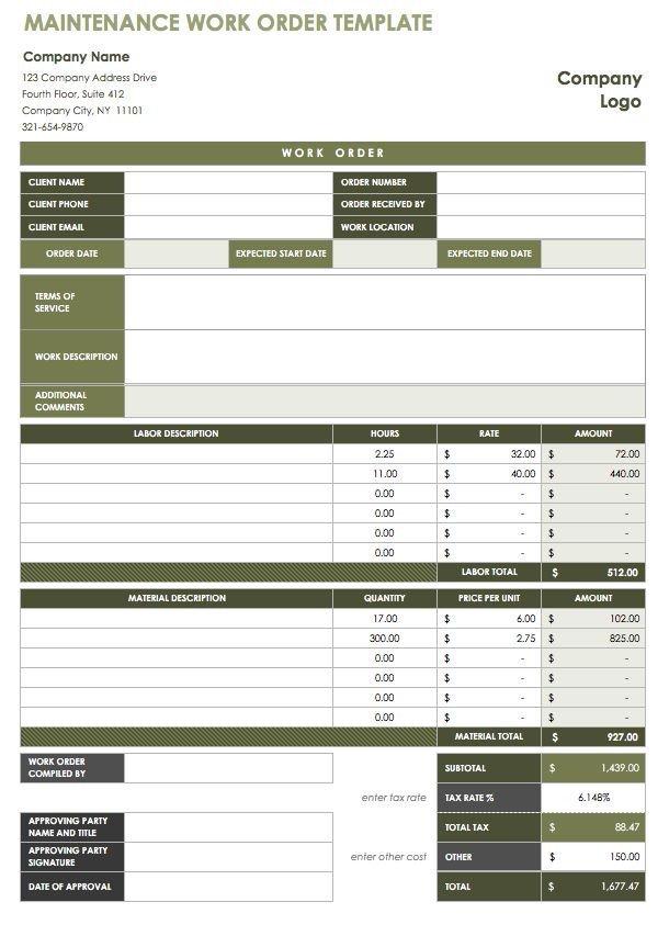Maintenance Work order Template 15 Free Work order Templates