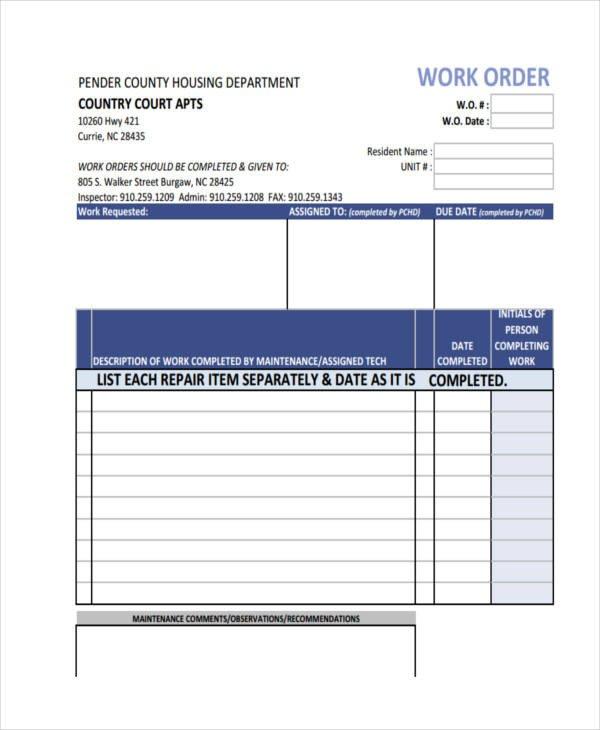 Maintenance Work order Template 17 Work order formats