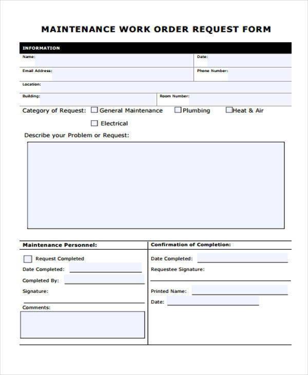 Maintenance Work order Template 22 Work order form Template