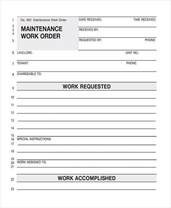 Maintenance Work order Template 28 Work order Templates Ai Psd
