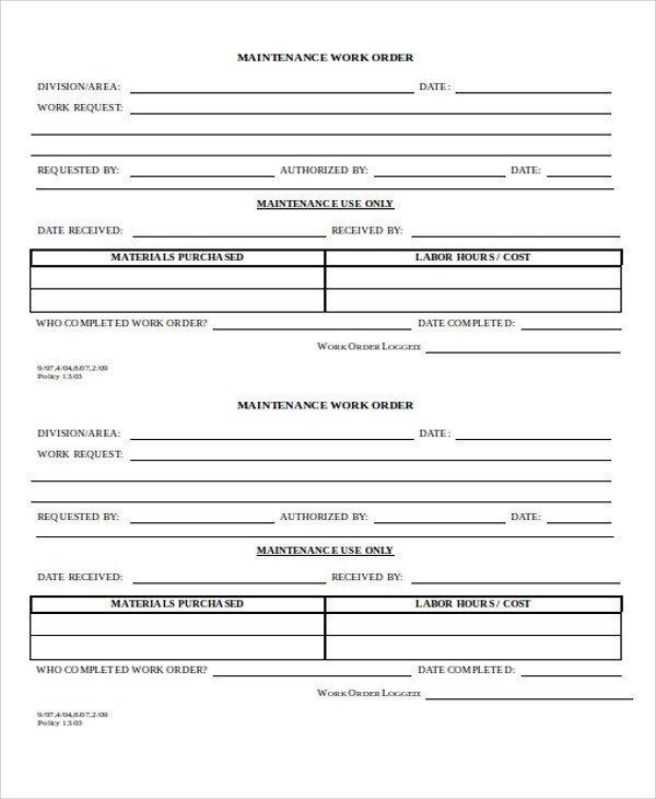 Maintenance Work order Template 32 Sample order Templates Ai Psd