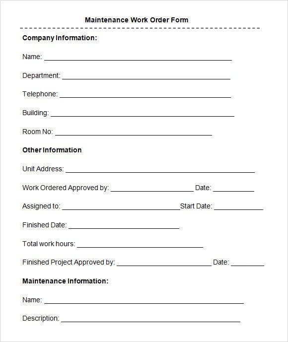 Maintenance Work order Template Sample Maintenance Work order form 8 Free Documents In Pdf