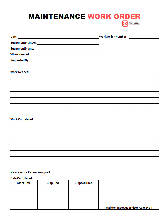 Maintenance Work order Template Work order