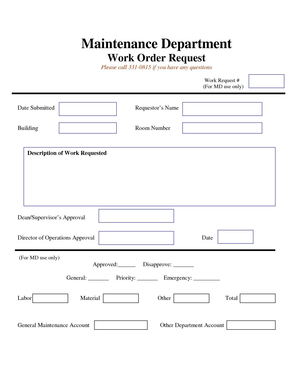 Maintenance Work order Template Work Request form