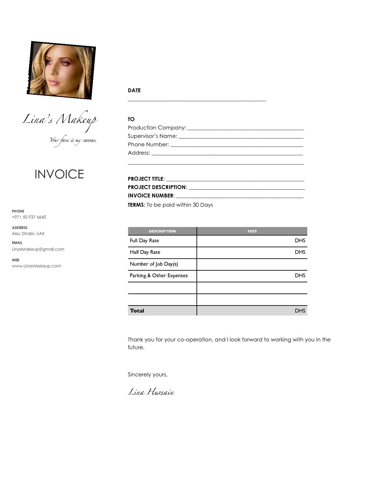 Makeup Artist Invoice Template Makeup Artist Invoice