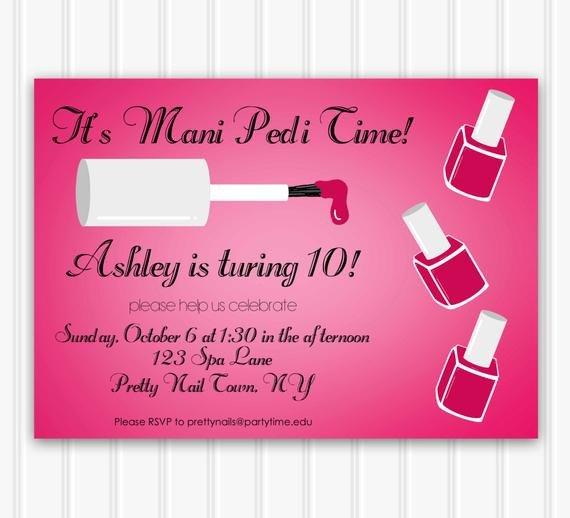 Mani Pedi Gift Certificate Template Manicure Party Invitation Mani Pedi Party Printable Spa