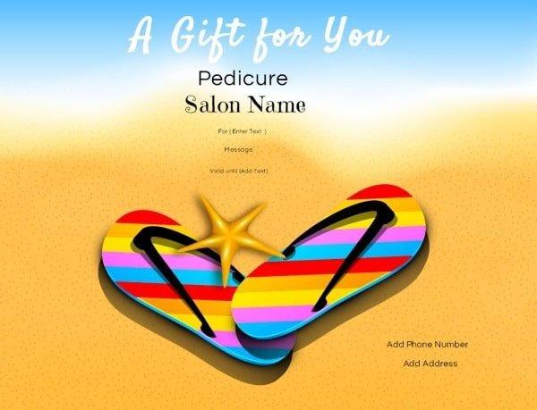 Mani Pedi Gift Certificate Template Nail Salon Gift Certificates