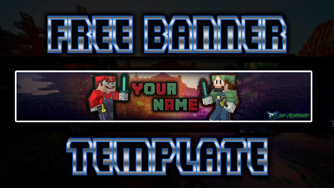 Mario Youtube Banner [free] Mario and Luigi Minecraft Banner Template
