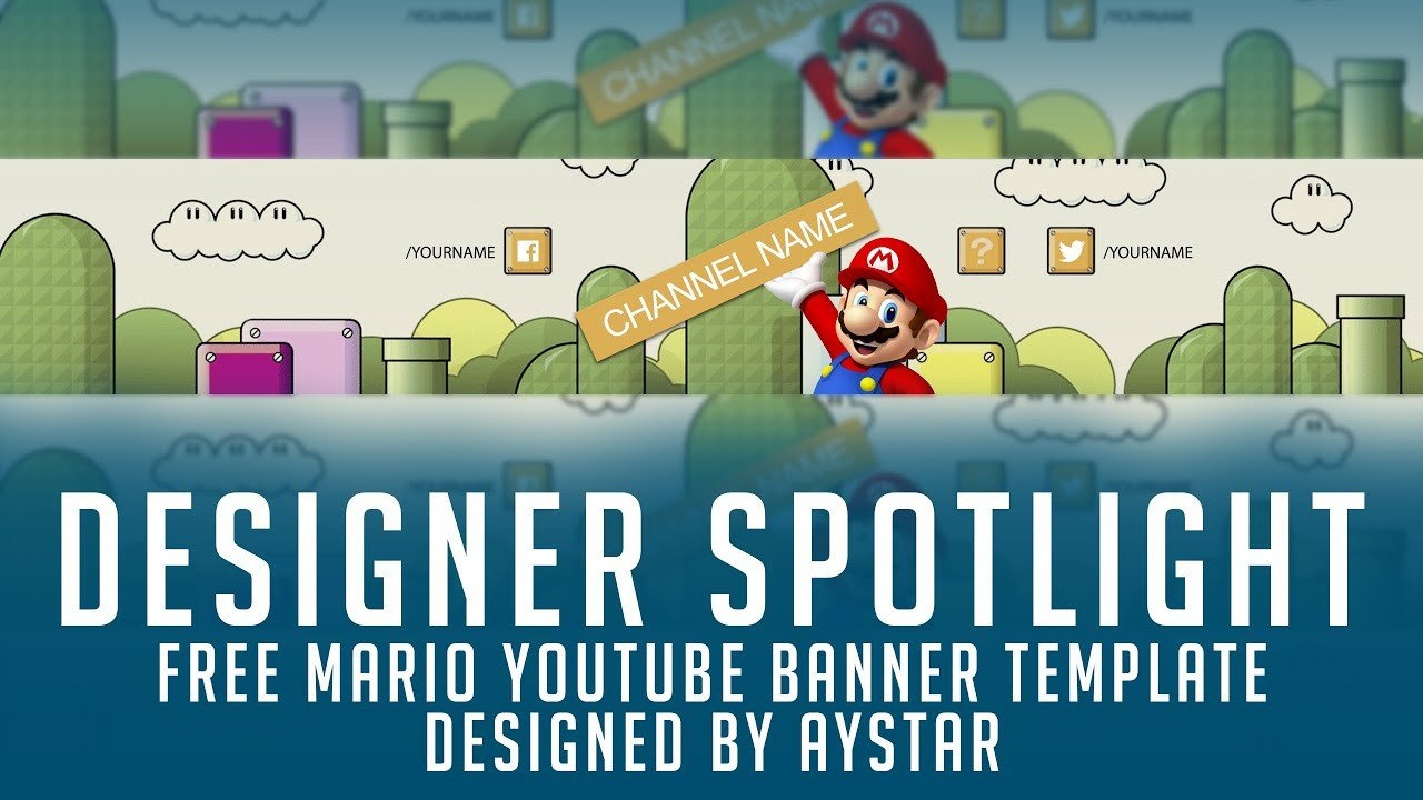Mario Youtube Banner Free Youtube Banner Template Mario themed 2d Psd Free