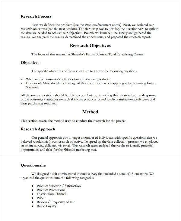 Market Research Report Template 12 Research Report Templates Free Sample Example format