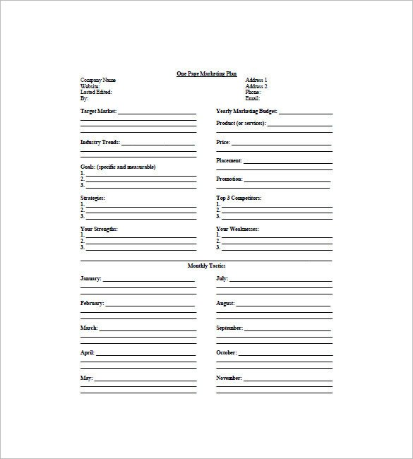 Marketing One Sheet Template 9 E Page Marketing Plan Templates Doc Pdf Excel