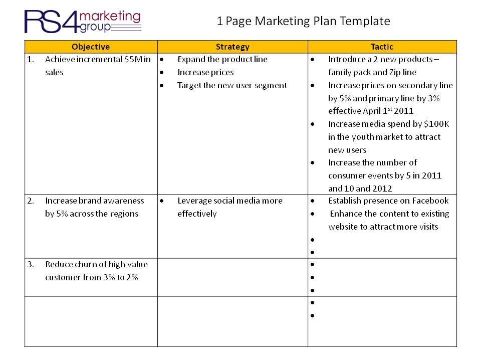 Marketing One Sheet Template E Page Marketing Plan Rs4