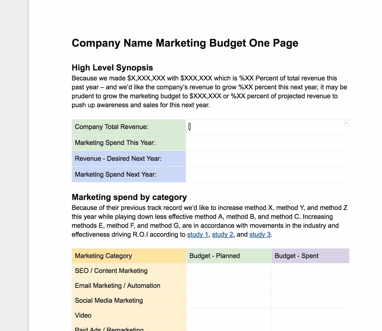 Marketing One Sheet Template Easy Free Marketing Bud Ing E Page Template