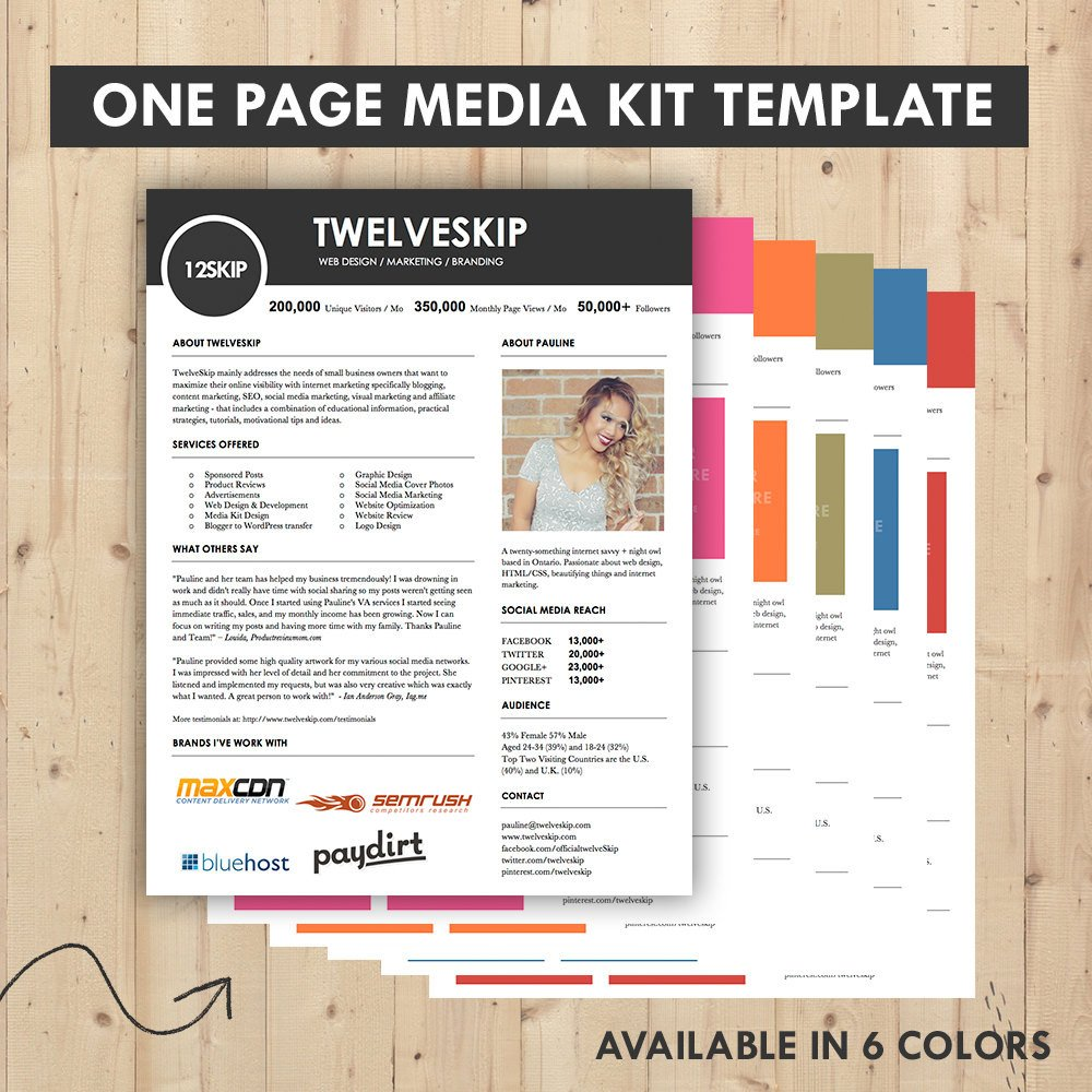 Marketing One Sheet Template Media Kit Press Kit Templates Easy to Edit Clean & High
