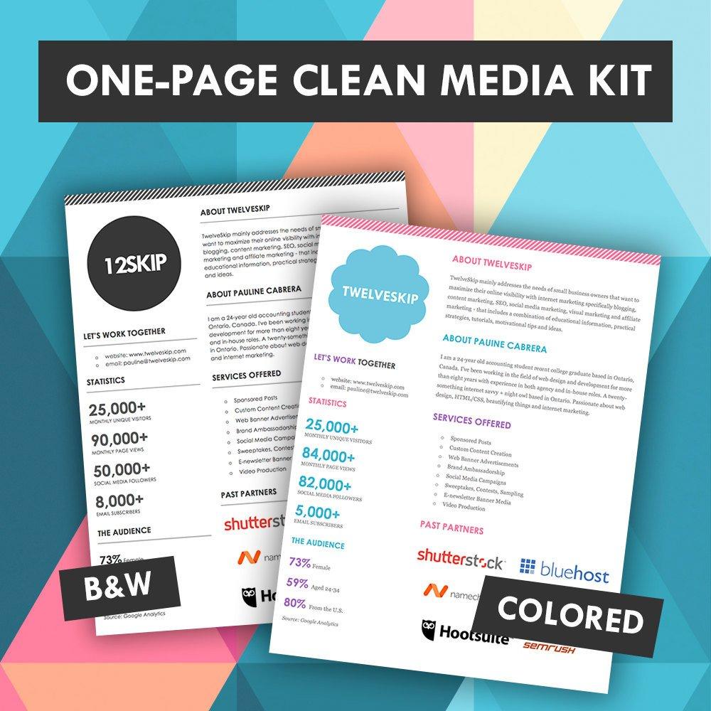 Marketing One Sheet Template Quick E Page Media Kit Template Press Kit Media Kit