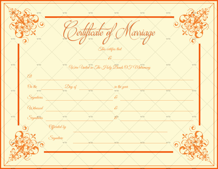 Marriage Certificate Template Microsoft Word 60 Marriage Certificate Templates for Microsoft Word