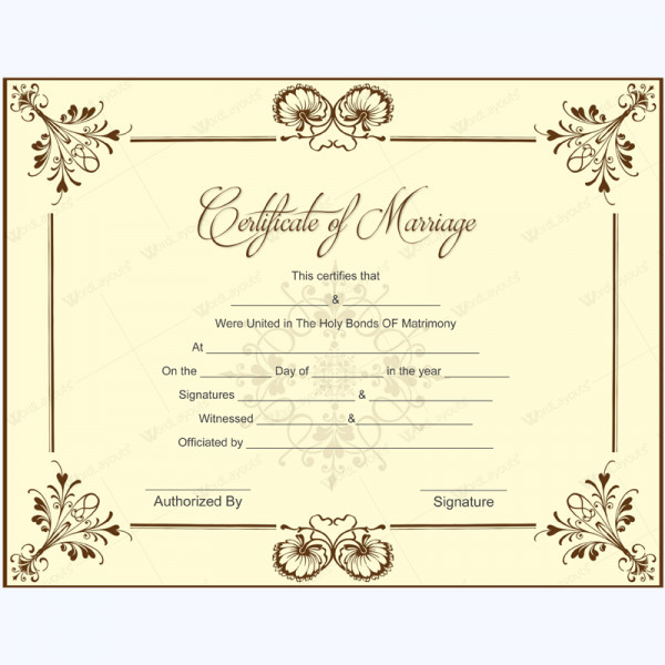 Marriage Certificate Template Microsoft Word Blank Marriage Certificate Template for Microsoft Word