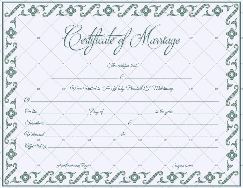 Marriage Certificate Template Microsoft Word Fillable Marriage Certificate Template Get Certificate