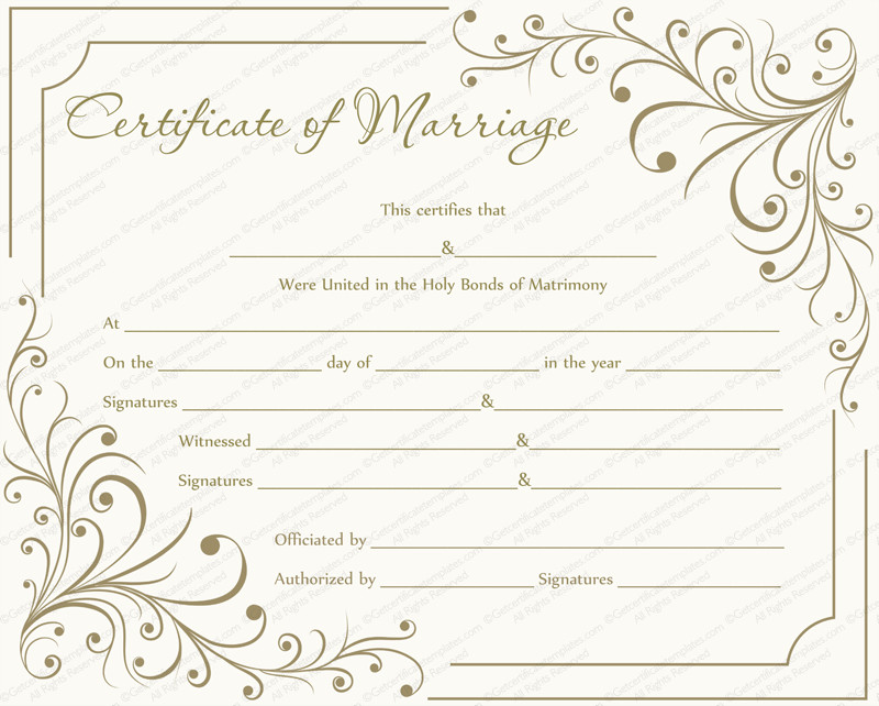 Marriage Certificate Template Microsoft Word Marriage Certificate Template Write Your Own Certificate