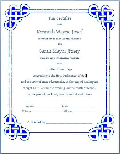 Marriage Certificate Template Microsoft Word Ms Word formal Marriage Certificate Template